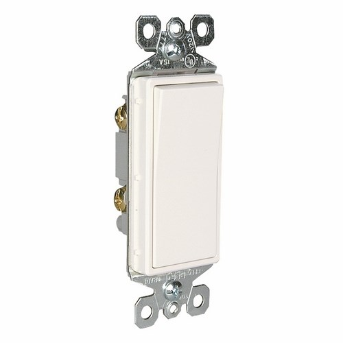 Pass & Seymour TM870-W Decorator Switch, 1Pole, 15A 120/277V Grounding - White