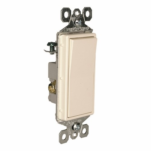 Pass & Seymour TM873-LA Decorator Switch,3Way 15Amp 120/277V Grounding, Light Almond