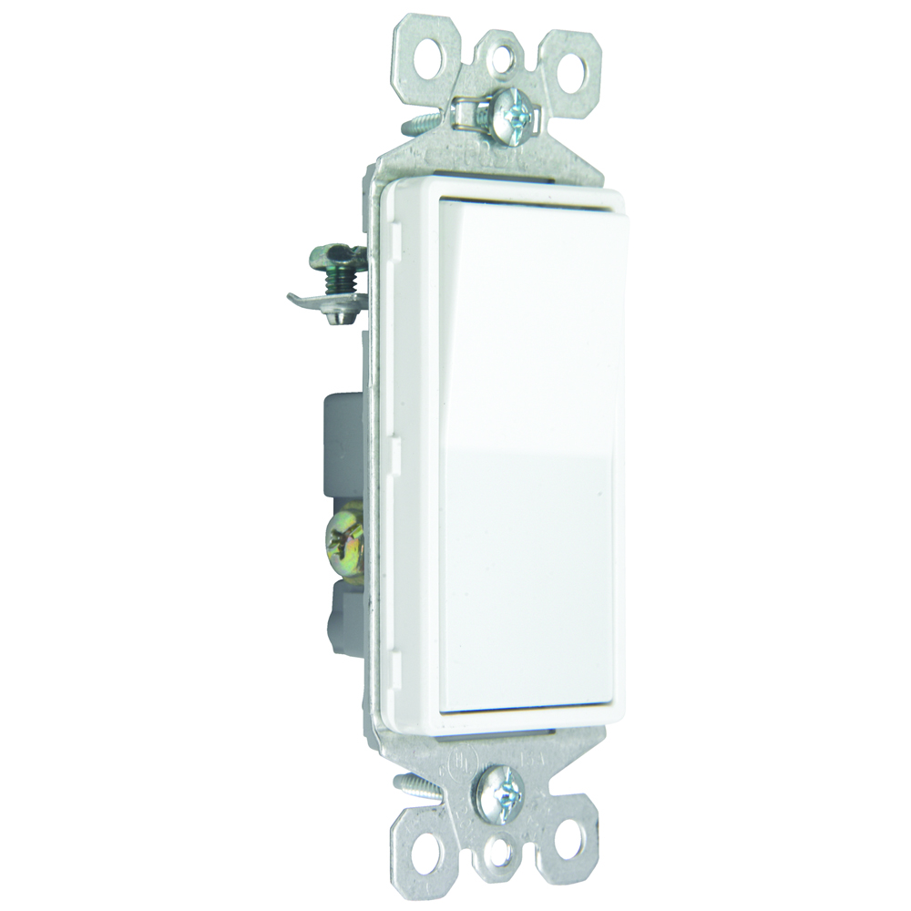 Pass & Seymour TM873-SW Self-Grounding 3-Way Decorator Switch, 15A 120/277V - White