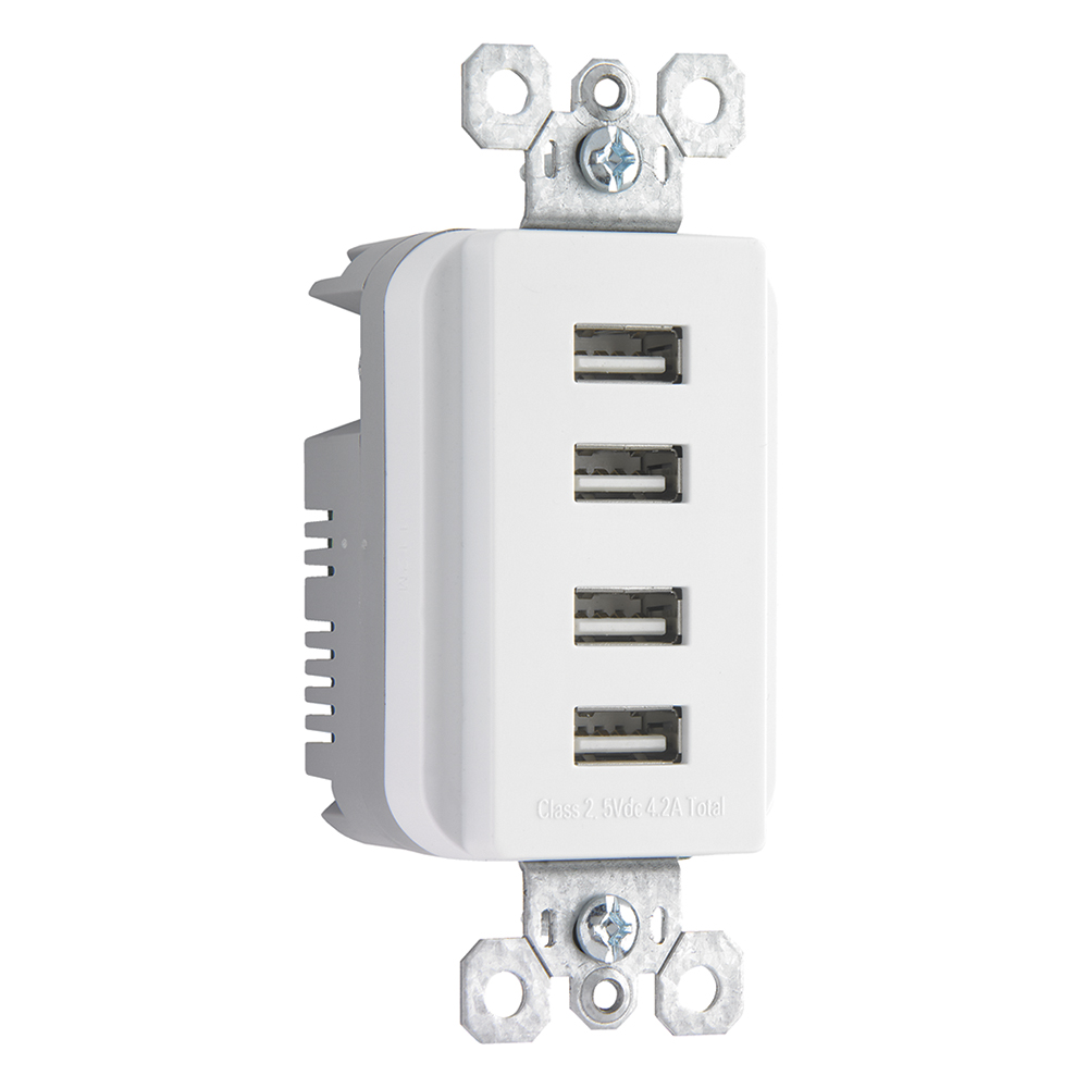 Pass & Seymour TM8USB4-WCC6 USB Quad Charger, White