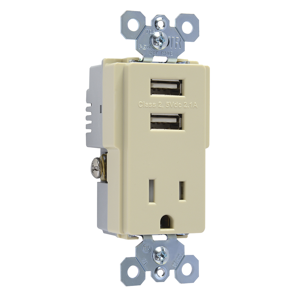 PASS TM8USBICC6 IVORY COMB 2/USB CHARGERS AND TAMPER RESISTANT RECEPTACLE
