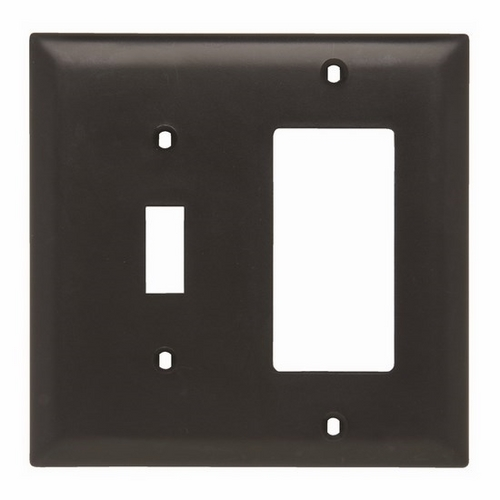 Pass & Seymour TP126-BK 2-Gang 1-Toggle Switch 1-Decorator Black Nylon Standard Combination Unbreakable Wallplate