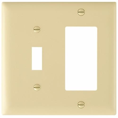Pass & Seymour TP126-I 2-Gang 1-Toggle Switch 1-Decorator Ivory Nylon Standard Combination Unbreakable Wallplate