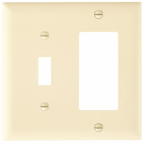 Pass & Seymour TP126-LA 2-Gang 1-Toggle Switch 1-Decorator Light Almond Nylon Standard Combination Unbreakable Wallplate