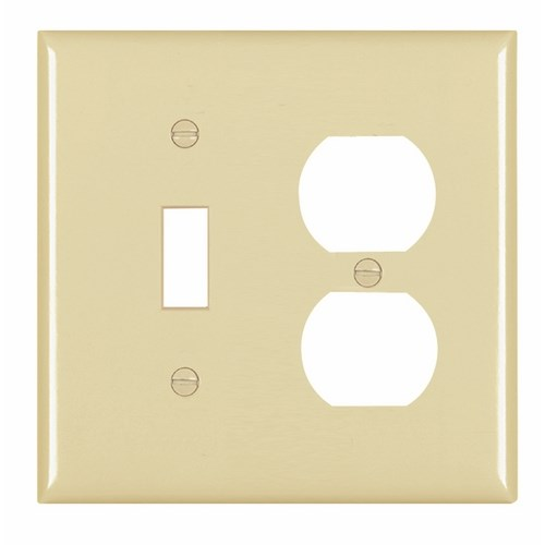 Pass & Seymour TP18-I 2-Gang 1-Toggle Switch 1-Duplex Receptacle Ivory Nylon Standard Combination Unbreakable Wallplate
