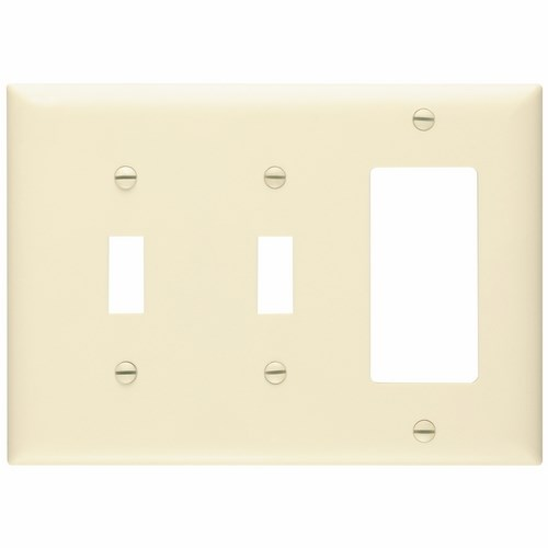 Pass & Seymour TP226-LA 3-Gang 2-Toggle Switch 1-Decorator Light Almond Nylon Standard Combination Unbreakable Wallplate