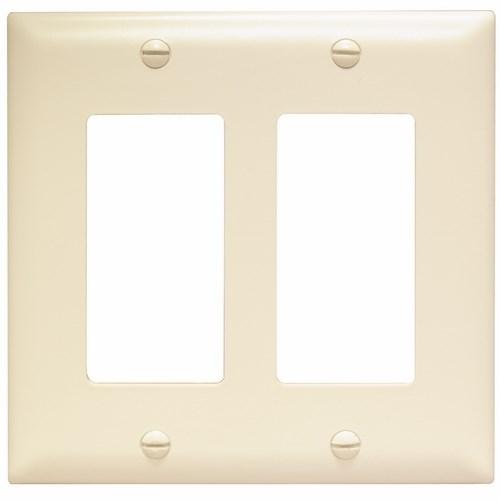 Wattstopper TP262-LA 2-Gang 2-Decorator Light Almond Nylon Standard Unbreakable Wallplate