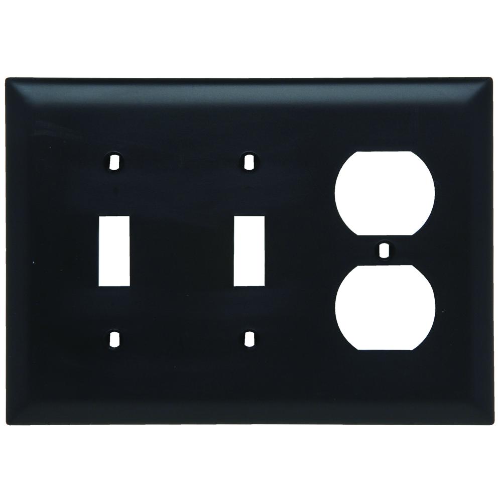 PS TP28-BK Trademaster Plate 3gang2toggle 1duplex Black