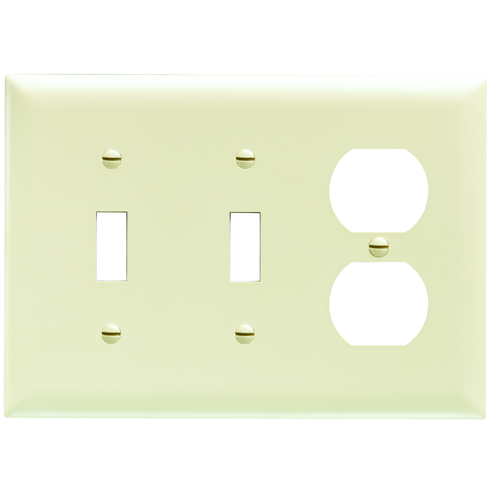 Pass & Seymour TP28-I 3-Gang 2-Toggle Switch 1-Duplex Receptacle Ivory Nylon Standard Combination Unbreakable Wallplate