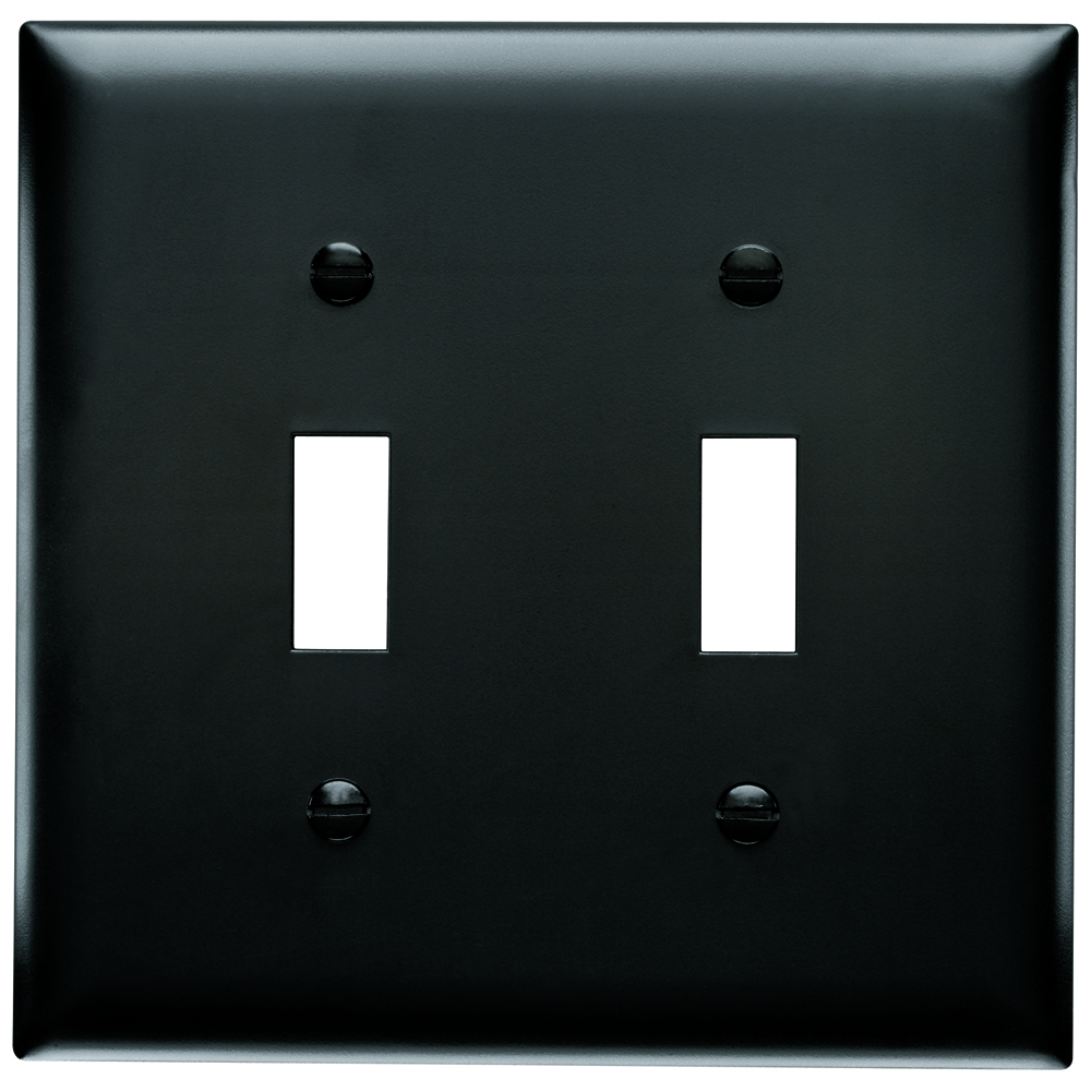 Pass & Seymour TP2-BK 2-Gang 2-Toggle Switch Black Nylon Standard Unbreakable Wallplate