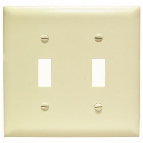 Pass & Seymour TP2-I 2-Gang 2-Toggle Switch Ivory Nylon Standard Unbreakable Wallplate