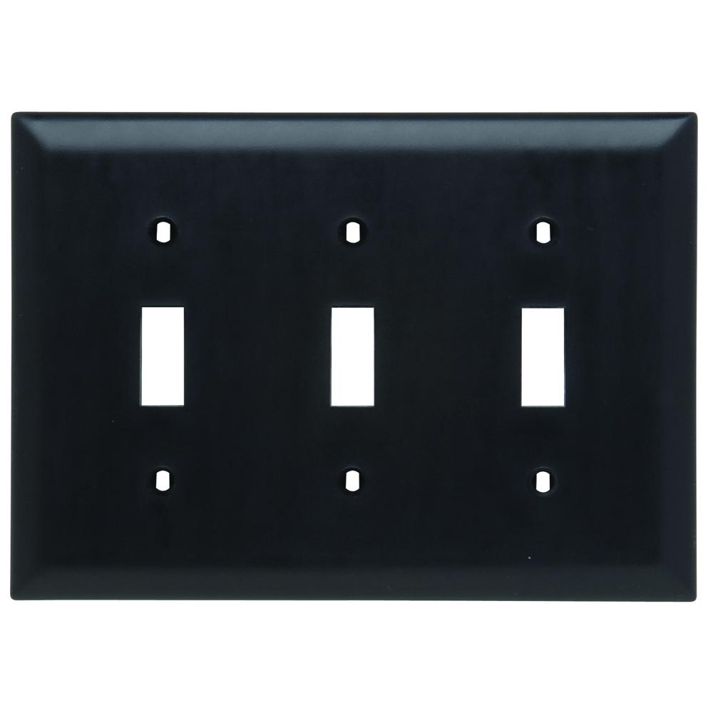 Pass & Seymour TP3-BK 3-Gang 3-Toggle Switch Black Nylon Standard Unbreakable Wallplate