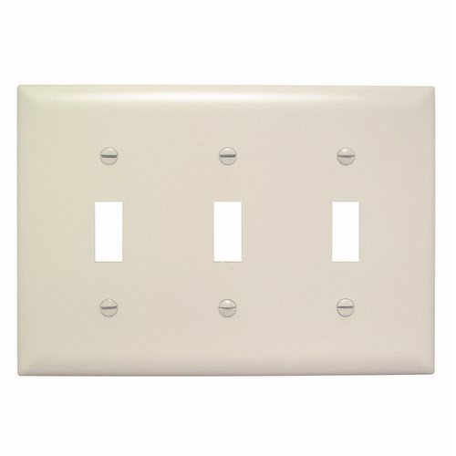 Pass & Seymour TP3-LA 3-Gang 3-Toggle Switch Light Almond Nylon Standard Unbreakable Wallplate