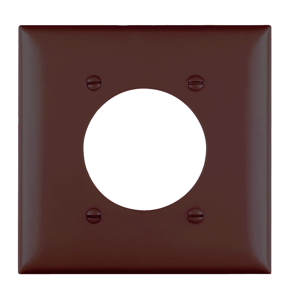 Pass & Seymour TP703 2-Gang 1-Power Outlet Receptacle Brown Nylon Standard Unbreakable Wallplate