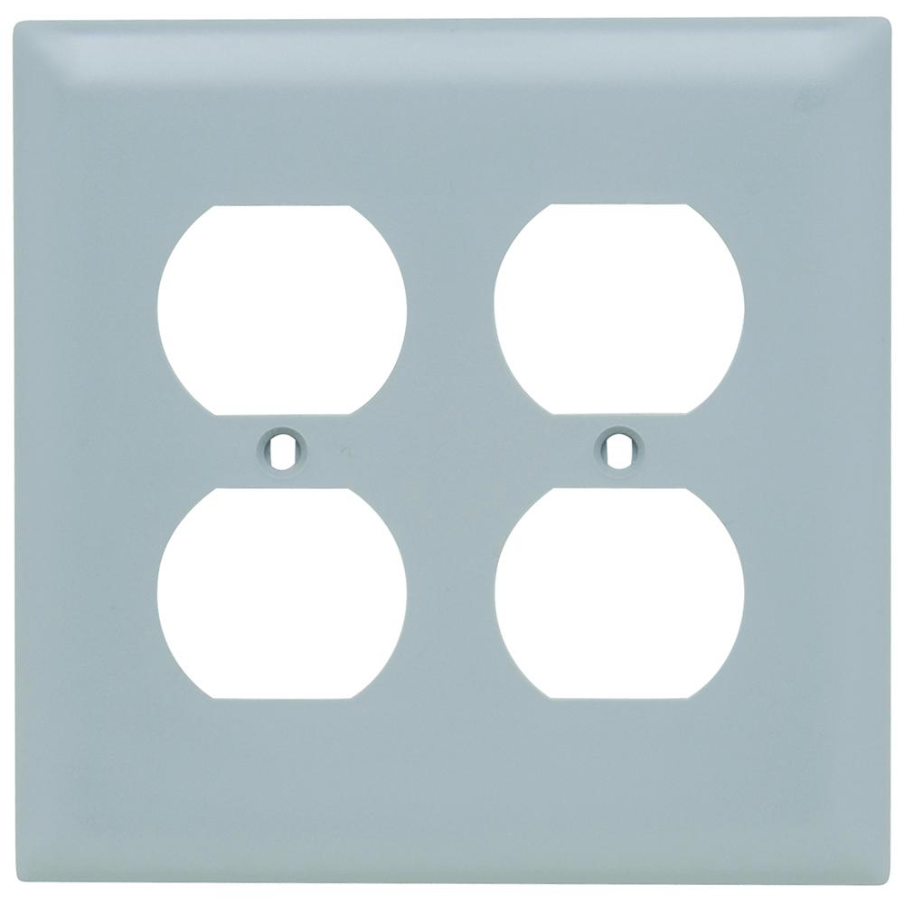 Pass & Seymour TP82-GRY 2-Gang 2-Duplex Receptacle Gray Nylon Standard Unbreakable Wallplate