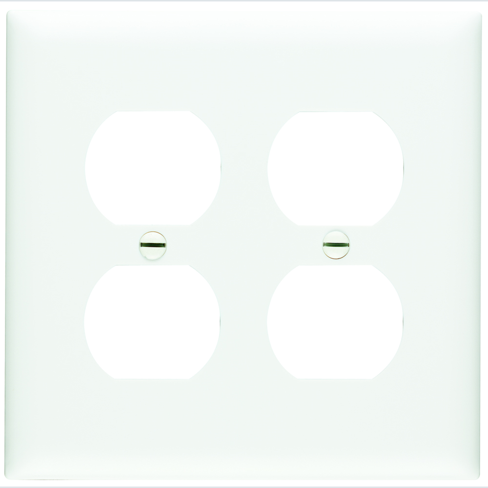 Pass & Seymour TP82-W 2Gang Wall Plate, Duplex Receptacle, Nylon, Standard - White