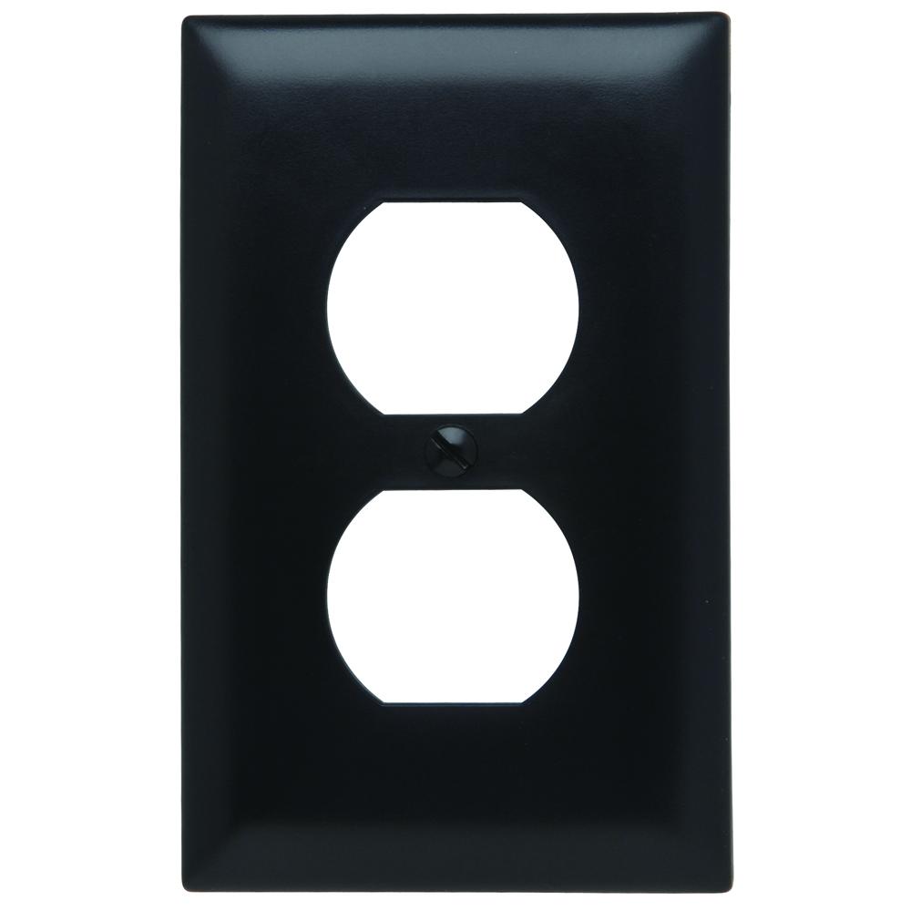 Pass & Seymour TP8-BK 1-Gang 1-Duplex Receptacle Black Nylon Standard Unbreakable Wallplate