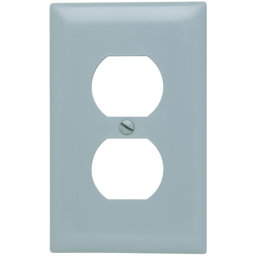 Pass & Seymour TP8-GRY 1-Gang 1-Duplex Receptacle Gray Nylon Standard Unbreakable Wallplate