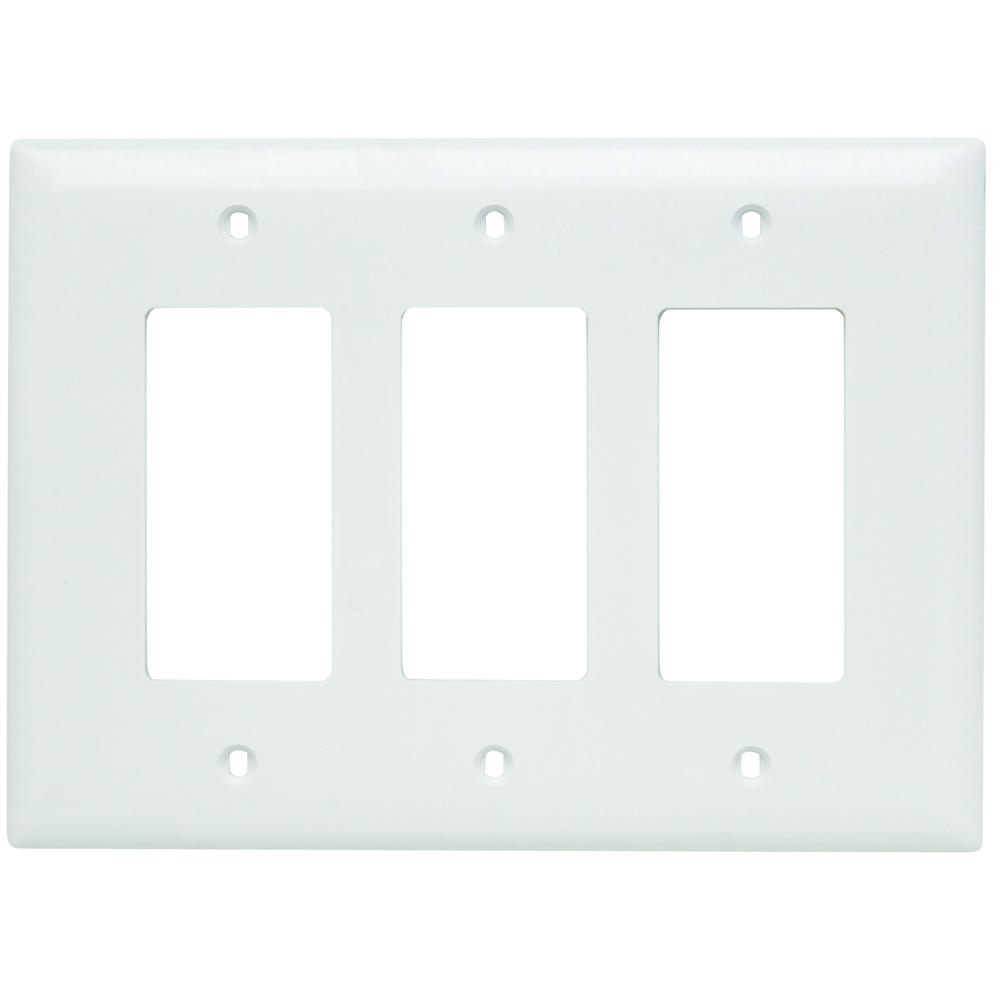 Pass & Seymour TPJ263-W Trademaster Wall Plate Jumbo 3Gang 3Decorator, White