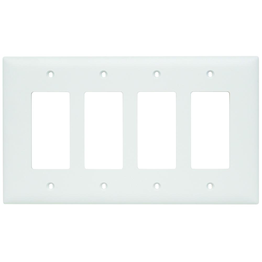 Pass & Seymour TPJ264-W 4Gang Wall Plate, Decorator, Nylon, Jumbo - White