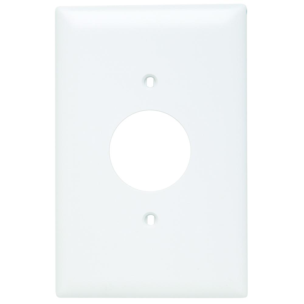 Pass & Seymour TPJ7-W 1Gang Wall Plate, Single Receptacle, Nylon, Jumbo - White
