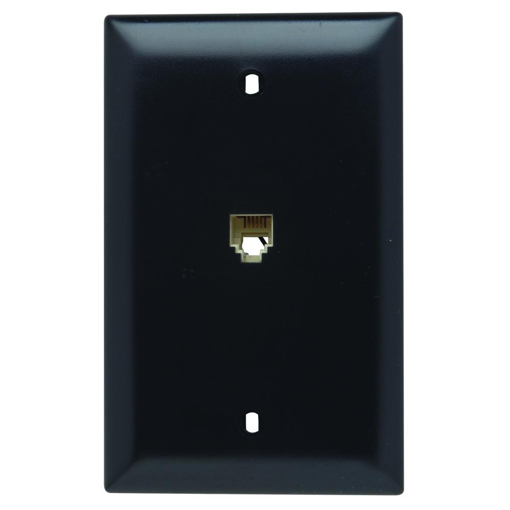 PS TPTE1-BK 1Gang Modular 4CondRJ11 Telephone Jack Wallplate,Black