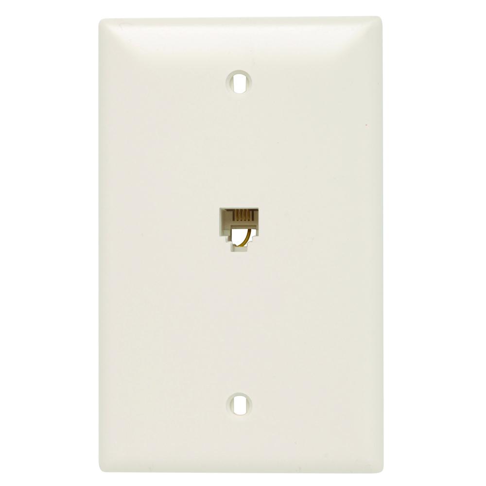 On-Q TPTE1-LA Standard Phone Wallplate, 1 Gangs, 4.7 in L, Thermoplastic, Wall Mount