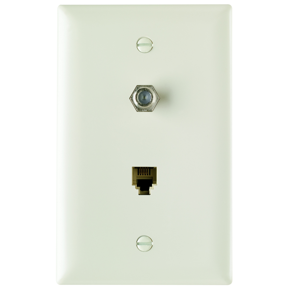 Pass & Seymour TPTELTV-LA Combination F Type Coaxial Connector And Four Conductor Rj11 Telephone Jack, Light Almond