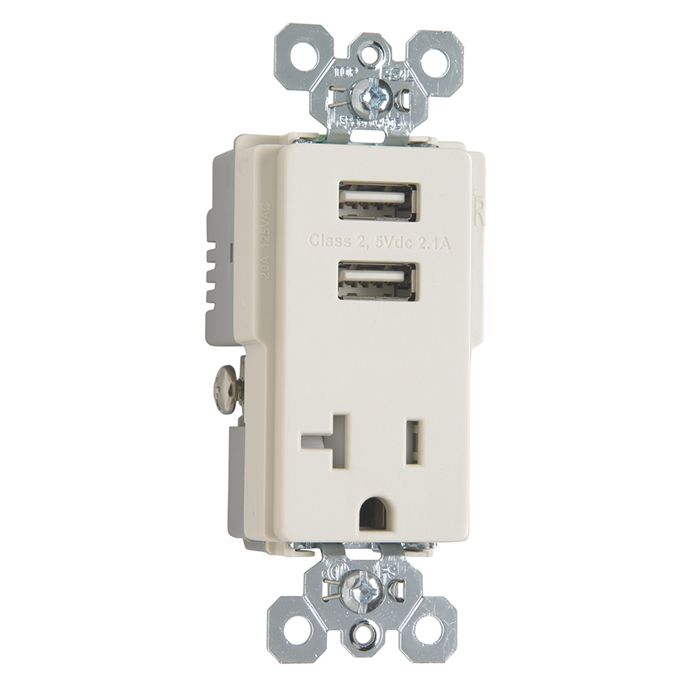 Pass & Seymour TR5361USB-LA 20 Amp 125 VAC 2-Pole 3-Wire Light Almond Decorator USB Charger Receptacle