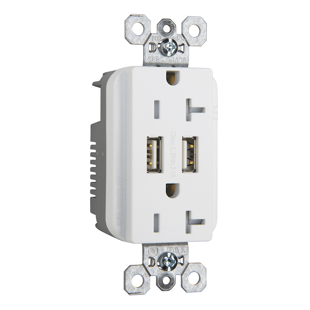 PS TR-5362USBW Combination 20A 125VTamper-Resistant Duplex Outlet withTwo USB Chargers - White20AMP DUPLEX