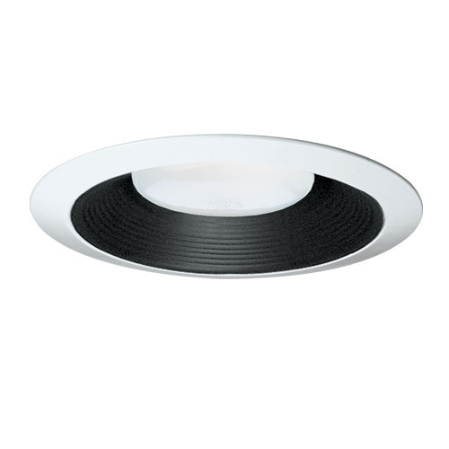 Hubbell Prescolite,TBW61,Hubbell® TBW61 Line Voltage Baffle, Long Neck Baffle, Round Baffle Style, 6.000 IN Diameter, Color: Black and White, Compatibility: IBXS, DBX, IBXHW, Ceiling Mount