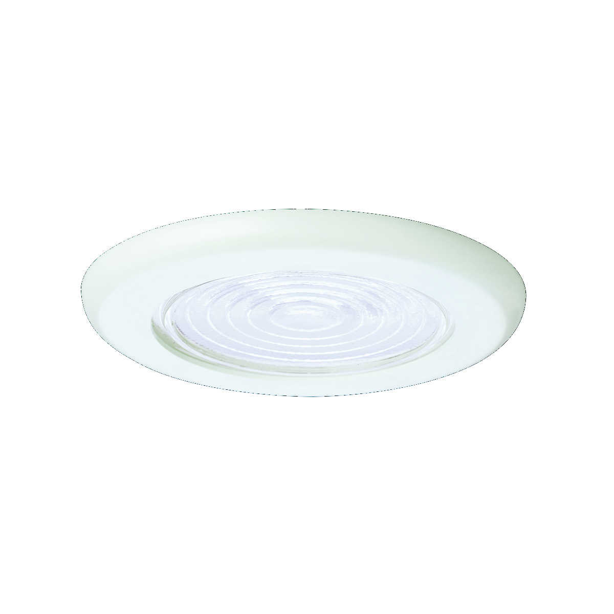 Hubbell Prescolite,TL62,Hubbell® TL62 Line Voltage Trim, Fresnel Shower Trim, Round Baffle Style, 6.000 IN Diameter, Color: White, Compatibility: DBX, IBX, FT, Ceiling Mount