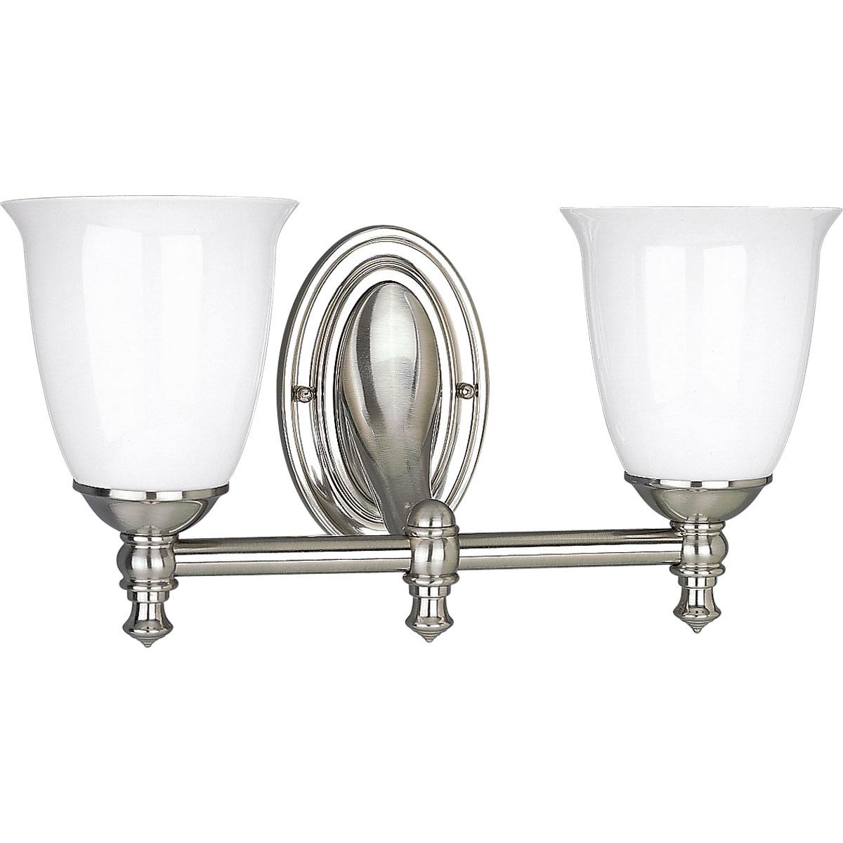 PRO P3028-09 2X100M Brushed Nickel White Opal Glass Vanity
