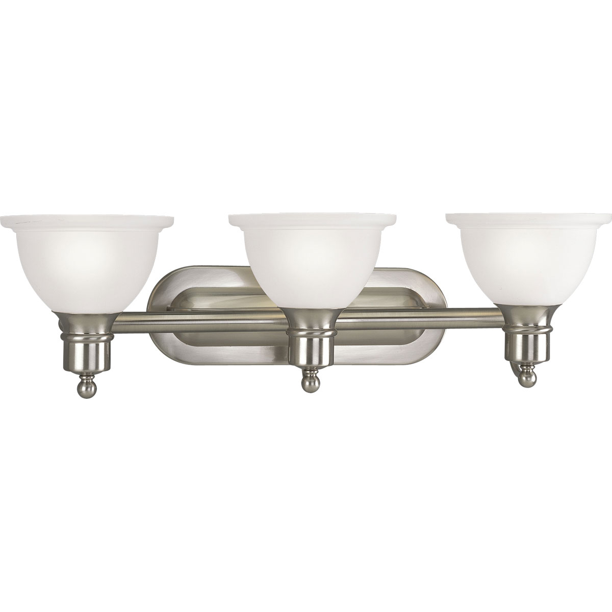 PRO P3163-09 Three Light Brushed Nickel Etched Glass Vanity 3X100M
