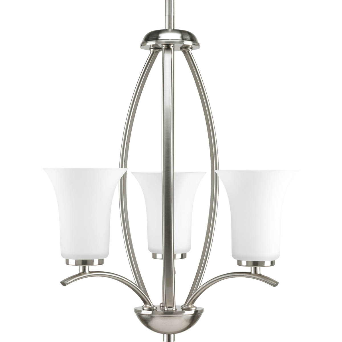 PRO P3587-09 3X60C Brushed Nickel Etched Glass Chandelier