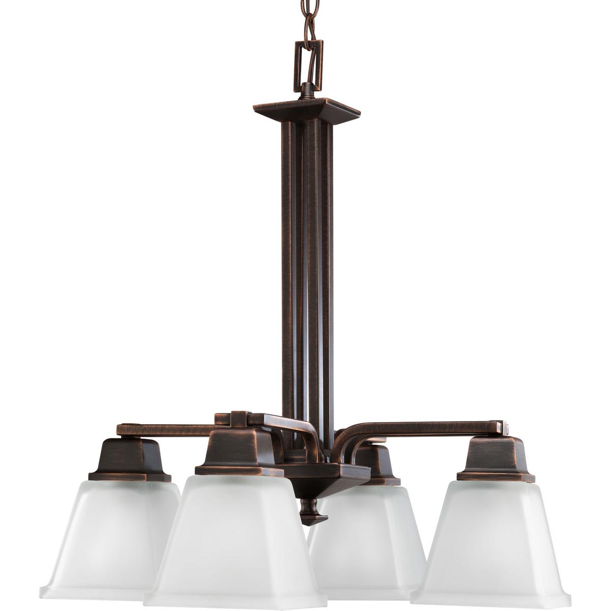 PRO P4002-74 4X100M Venetian Bronze Etched Glass Chandelier