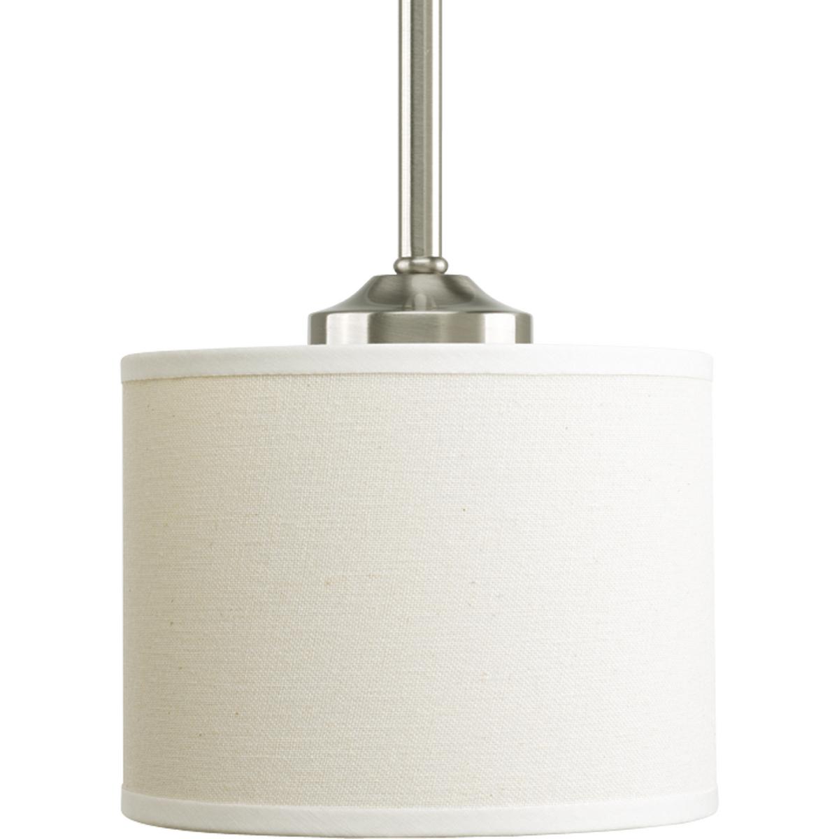 PRO P5065-09 1X100M Brushed Nickel Beige Linen Drum Shade Mini Pendant