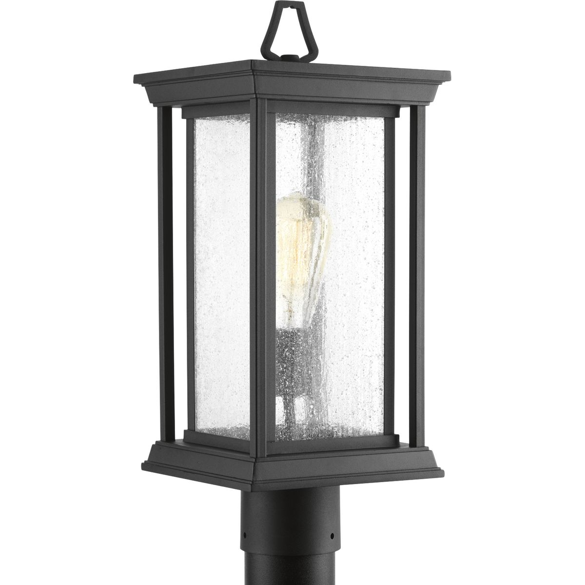 PRO P5400-31 1X100M Endicott Black Post Lantern Clear Seeded Glass