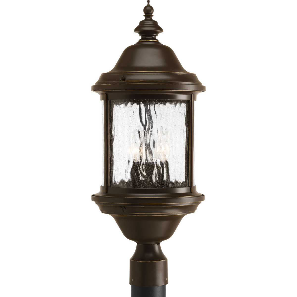 PRO P5450-20 3X60C Antique Bronze Water Seeded Glass Post Light