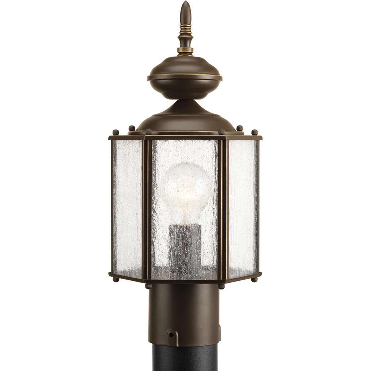 PRO P5475-20 1X100M Antique Bronze Clear Seeded Glass Post Light