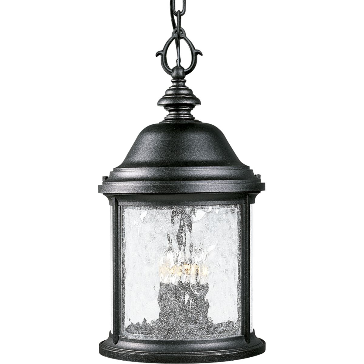 PRO P5550-31 3X60C Textured Black Water Seeded Glass Hanging Lantern