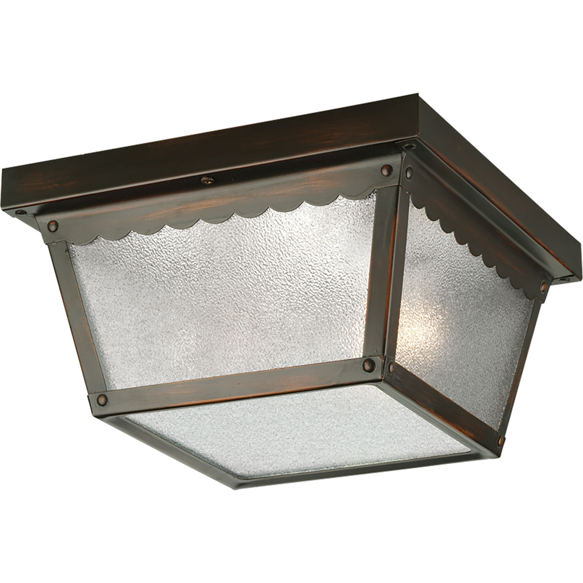 PRO P5729-20 2X60M Antique Bronze Textured Glass Outdoor Flush Mount