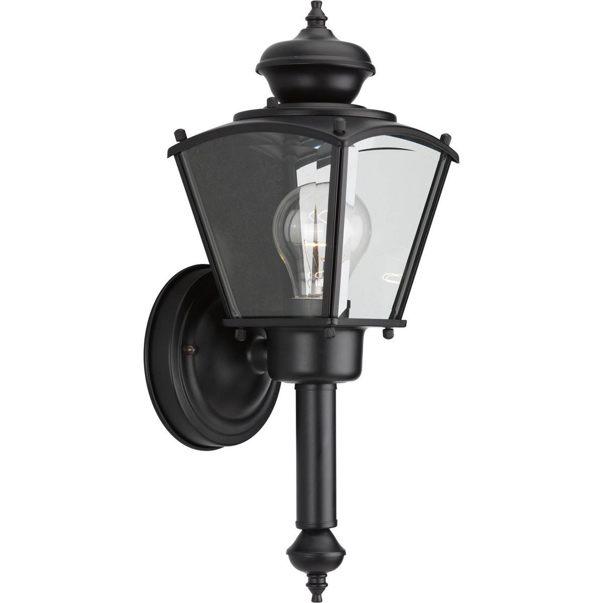 PRO P5846-31 One Light Black Clear Beveled Glass Wall Lantern 1X60M