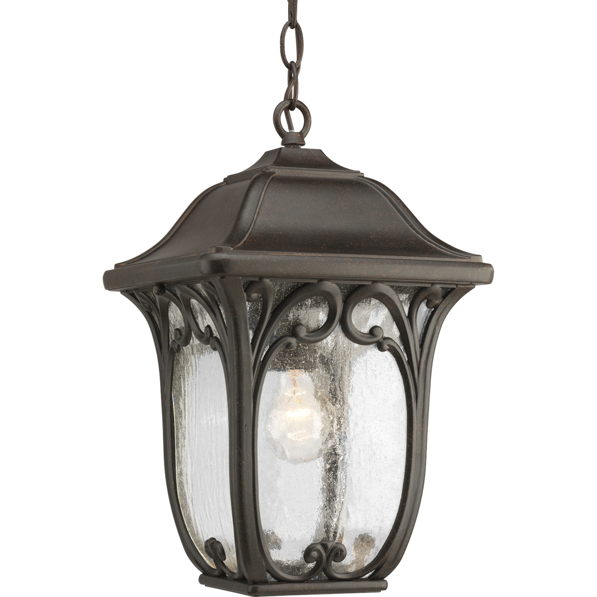 PRO P6501-84 One Light Espresso Etched Glass Hanging Lantern 1X100Medium