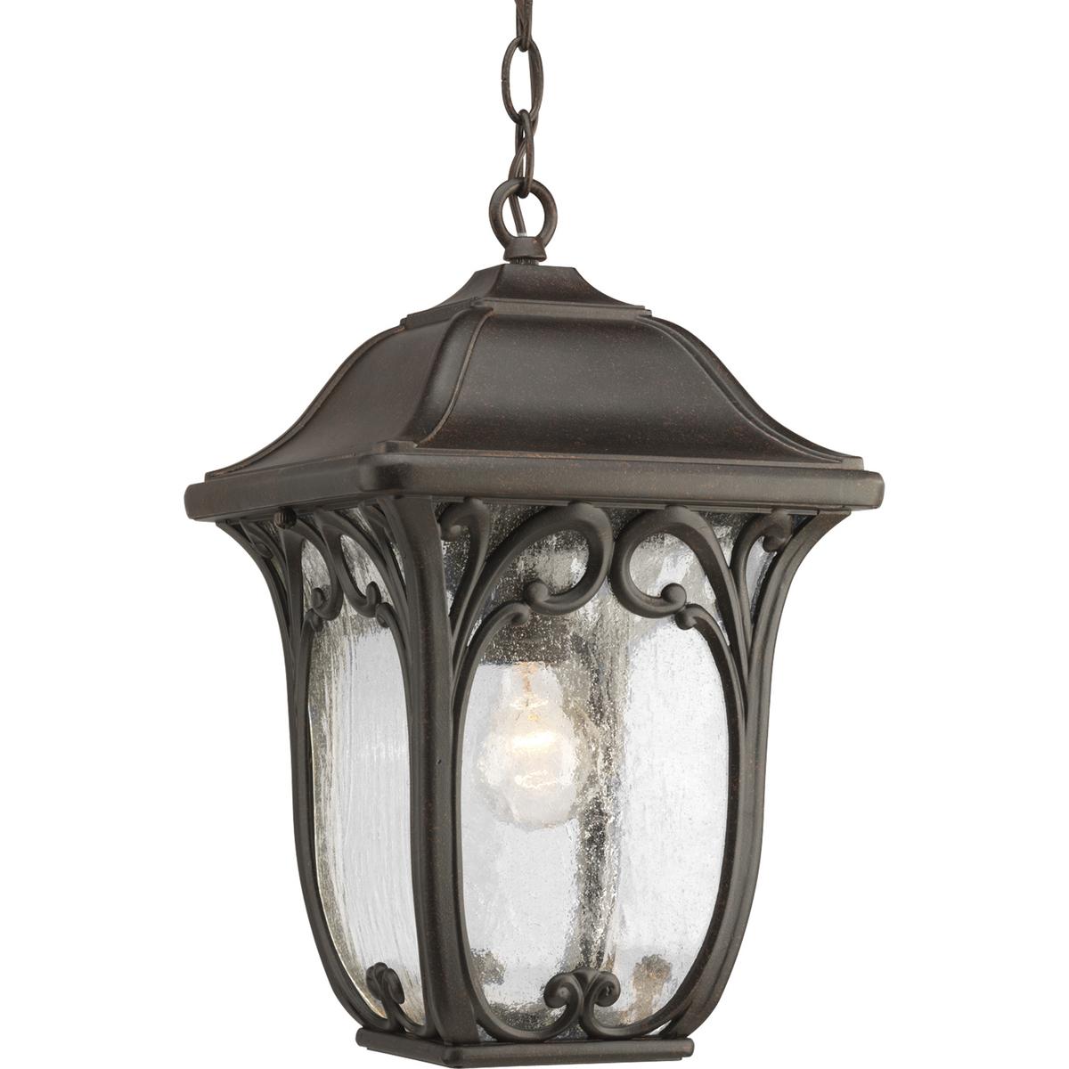 PRO P6501-84 One Light Espresso Etched Glass Hanging Lantern 1X100Medium