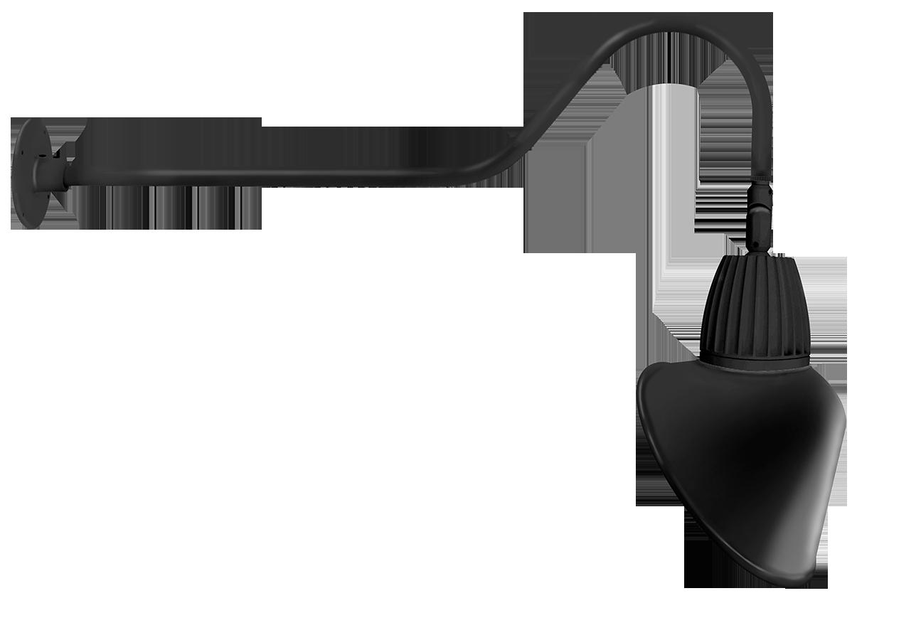 RAB GN2LED13YRACB GOOSENECK STYLE2 13W WARM LED 15 AC SHADE RECT REFL BLACK