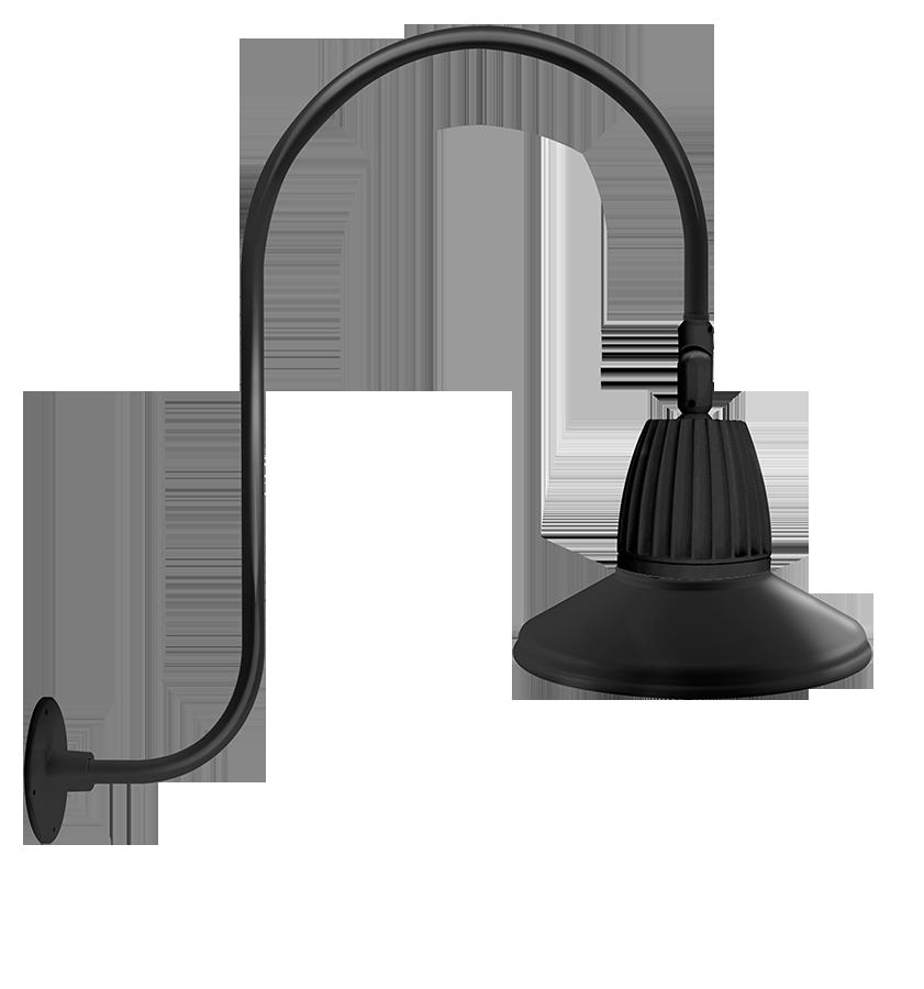 RAB GN3LED26YSTB GOOSENECK STYLE3 26W WARM LED 15 STRAIGHT SHADE BLACK