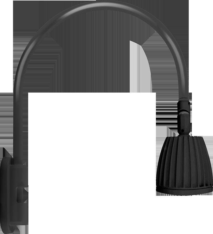 RAB GN5LED26YRB GOOSENECK STYLE5 26W WARM LED NO SHADE RECT REFL BLACK