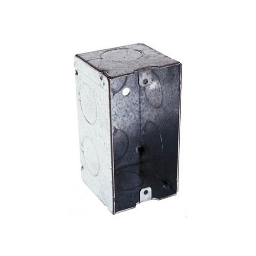RACO,674,RACO® 674 Handy Box With Conduit Knockout, Steel, 16.5 cu-in, 1 Gang, 1 Outlet, 8 Knockouts