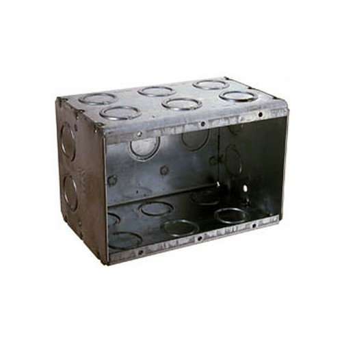 RACO,697,RACO® 697 Non-Gangable Masonry Box, Steel, 67.3 cu-in, 3 Gangs, 3 Outlets, 28 Knockouts
